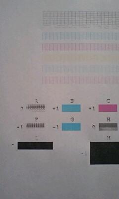 全色一斉にクリーニング機能を実行した後のノズルパターン(2枚目)